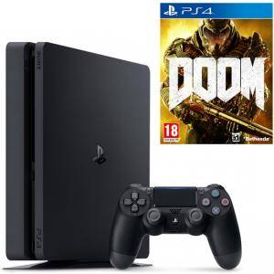 Конзола PlayStation 4 Slim 500GB Black, Sony PS4 + Игра Doom за PS4