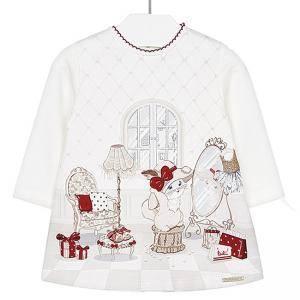 94509d29916 Детска ватирана рокля с дълъг ръкав и илюстрация Mayoral, бяла, размери от  6 до 36 месеца, 8079993