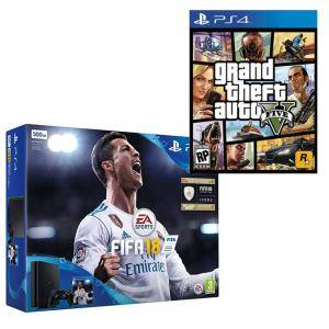 Комплект Конзола Sony PS4 500 GB FIFA 18 Bundle with FIFA 18 Ultimate Team Icons + Игра GTAV (GTA5): Grand Theft Auto V