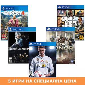 Игра FIFA 18 за PlayStation 4 - PS4 + Игра For Honor + Игра Mortal Kombat XL + Игра GTAV (GTA5): Grand Theft Auto V + Игра Far Cry 4