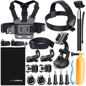 Аксесоари за GoPro, Action Camera Accessories Kit for Go Pro Hero 6 5 4 3 2 1 Hero Session 5 Black AKASO EK7000 Apeman and More by LUSCREAL