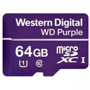 Карта памет МicroSD Card 64GB WD Purple Class 10 UHS Speed Class 1 (U1) microSDXC, read-write: up to 80MBs, 50MBs, WDD064G1P0A