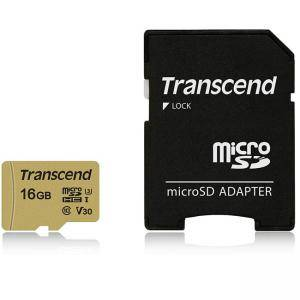 Карта памет Transcend 16GB microSDHC I, Class 10, U3, V30, MLC with Adapter, read: up to 95MBs, 60MB/s, TS16GUSD500S