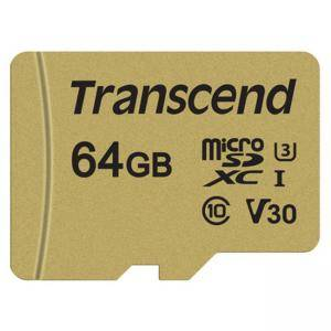 Памет Transcend 64GB microSDXC I, Class 10, U3, V30, MLC with Adapter, read: up to 95MBs, 60MB/s, TS64GUSD500S