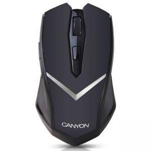 Мишка CANYON Mouse CNE-CMSW3 (Wireless, Optical 800/1280 dpi, 4 btn, USB, power saving technology), Black, CNE-CMSW3
