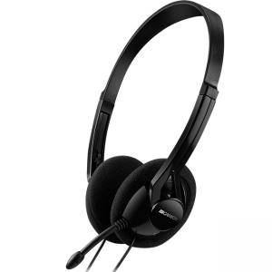 Слушалки CANYON PC headset with microphone, volume control and adjustable headband, cable 1.8M, Black, CNE-CHS01B