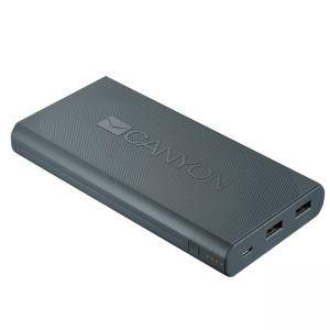 Външна батерия CANYON Power bank 16000mAh built-in Lithium-ion battery, max output 5V2.4A, input 5V2A. Dark Gray, CNE-CPBF160DG