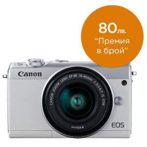Цифров фотоапарат Canon EOS M100, white + EF-M 15-45mm f/3.5-6.3 IS STM, 2210C012AA