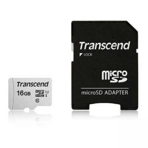 Карта памет Transcend 16GB UHS-I U1 microSDHC I, Class10 with Adapter, read: up to 95MBs, 45MB/s, TS16GUSD300S-A