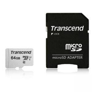 Памет Micro SD Transcend, 64GB UHS-I U1 microSDXC I, Class10 with Adapter, read up to 95MBs, 45MB/s, TS64GUSD300S-A