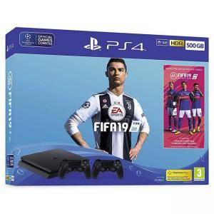Конзола FIFA 19 500GB PS4 Bundle - with second DUALSHOCK 4, FIFA 19 Ultimate Team Icons and Rare Player Pack (PS4)