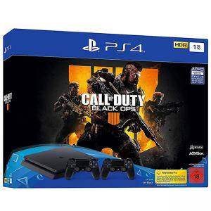 Конзола PlayStation 4 - Konsole (1TB, schwarz, slim) inkl. Call of Duty: Black Ops 4 + 2 DualShock Controller