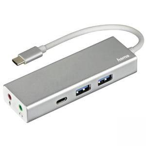 4-портов хъб USB 3.1 Type-C HAMA Aluminium, 2 x USB-A, 1 x USB-C, 1 x 3.5mm audio, Bus Powered, Сребрист, HAMA-135758