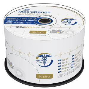 CD-R MediaRange Medical Line 700MB, 80min 48x speed, inkjet fullsurface printable, Cake 50