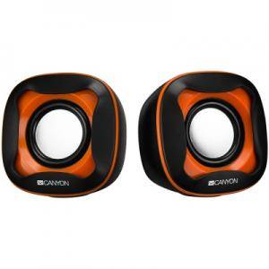 Тонколони USB 2.0 Speaker, black +orange 021C, 2x3W 4 Ohm, ABS, 1.2m cable with USB2.0 & 3.5mm audio connector. CNS-CSP202BO