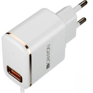 Зарядно CANYON Universal 1xUSB AC charger (in wall) with over-voltage protection, Input 100V-240V, Output 5V-1A. CNE-CHA01WR