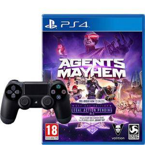ГЕЙМПАД - SONY PLAYSTATION DUALSHOCK 4 WIRELESS, ВЕРСИЯ 2 , ЧЕРЕН BLACK + Игра Agent Of Mayhem (PS4)