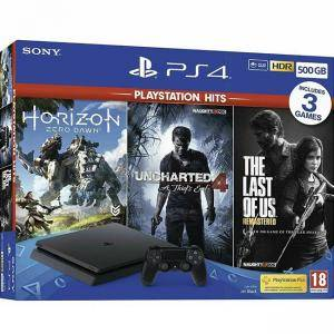 Конзола Sony PlayStation 4 Slim 500GB Черна + Игра The last of US + Игра Uncharted 4 + Игра Horizon: Zero Dawn