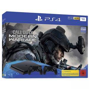 PlayStation 4 Slim 1TB с включени 2 контролера и Call of Duty: Modern Warfare - Bundle