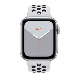 Смарт часовник Apple Watch Nike Series 5 GPS (44mm), Silver Aluminium Case with Pure Platinum/Black Nike Sport Band, MX3V2BS/A