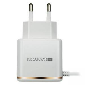 Зарядно устройство Canyon Smart/Safe Single-USB Wall Charger, 2.1A, USB към Lightning кабел, White-Rose, CNE-CHA043WR