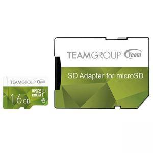 Карта памет Team Group Color microSDHC 16GB, UHS-I Class 10 + SD Адаптер, TEAM-SDMICRO-16-C10-GREEN