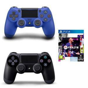 Геймпад - Sony PlayStation DualShock 4 Wireless, версия 2 , черен Black + Джойстик PlayStation 4 - DualShock 4 Wireless Controller, blue + ИГРА EA Fifa 21 Playstation 4 Standart Edition - PS4 / PS5
