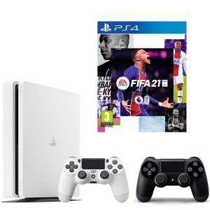 Конзола SONY PlayStation 4 Slim, 500GB, Бяла + ИГРА Electronic Arts FIFA 21 (PS4) + Геймпад - Sony PlayStation DualShock 4 Wireless, версия 2 , черен Black