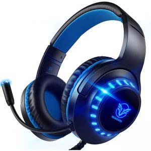 Геймърски слушалки Pacrate PC Gaming Headset за PS4, PS5, Xbox One, PC, Намаляване на шума, Over-Ear, PS4 Headset with LED Lights, PS4 Gamer Headphones with Sensitive Microphone & Intense Bass for Laptop Mac