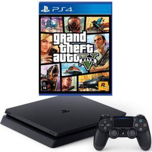 Конзола PlayStation 4 Slim 500GB Black + Игра GTAV (GTA5): Grand Theft Auto V за PS4