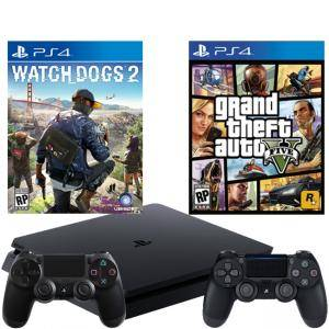 Конзола PlayStation 4 Slim 500GB Black, Sony PS4+Игра Watch Dogs 2 за+Игра GTAV (GTA5): Grand Theft Auto V +Геймпад - Sony PlayStation DualShock 4 Wir