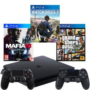 КОНЗОЛА PLAYSTATION 4 SLIM 500GB BLACK, SONY PS4+ИГРА WATCH DOGS 2 +ИГРА GTAV (GTA5): GRAND THEFT AUTO V+ИГРА MAFIA III+Геймпад - Sony PlayStation Dua