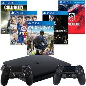 Конзола PlayStation 4 Slim 500GB Black+Call of Duty+FIFA17 +Mortal Kombat+Watch Dogs 2+DRIVECLUB+DualShock 4
