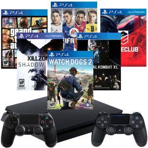 Конзола PlayStation 4 Slim 500GB Black+DRIVECLUB +FIFA17 +GTAV +Killzone Shadow Fall+Mortal Kombat XL+Watch Dogs 2+DualShock 4