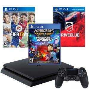 Конзола PlayStation 4 Slim 500GB Black, Sony PS4+Игра FIFA17+Игра Minecraft: Story Mode+Игра DRIVECLUB
