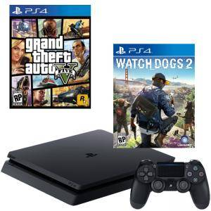 Конзола PlayStation 4 Slim 500GB Black, Sony PS4+Игра GTAV (GTA5): Grand Theft Auto V за PS4+Игра Watch Dogs 2 за Playstation 4