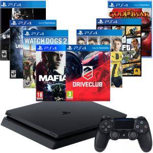 Конзола PlayStation 4 Slim 500GB Black+FIFA17 +DRIVECLUB+GTAV+God of War 3+Mafia III+Watch Dogs 2+Uncharted 4+Mortal Kombat XL
