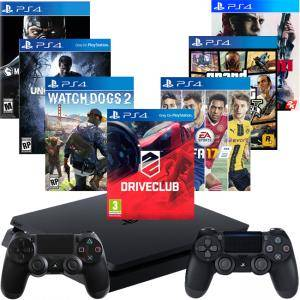 Конзола PlayStation 4 Slim 500GB Black+FIFA17 +DRIVECLUB+GTAV+DualShock 4 Wireless+Mafia III+Watch Dogs 2+Uncharted 4+Mortal Kombat XL
