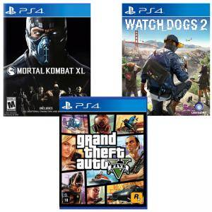 Игра Watch Dogs 2 за Playstation 4+Игра GTAV (GTA5): Grand Theft Auto V за PS4+Игра Mortal Kombat XL PS4