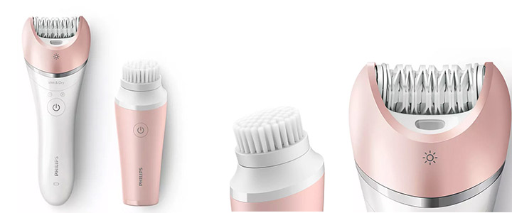 Комплект Епилатот PHILIPS BRP545/00 + Четка за лице, S-образна дръжка, Розов